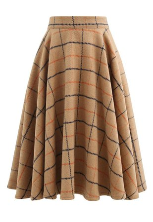 Wool-Blend Check Print Flare Skirt - Retro, Indie and Unique Fashion