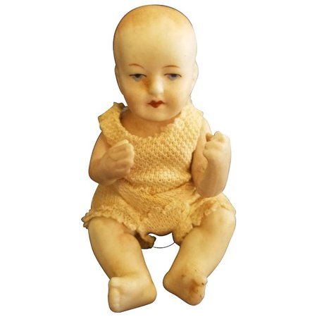 """Vintage 1910 All Bisque Limbach 4"""" Baby Doll : Your-Favorite-Doll 