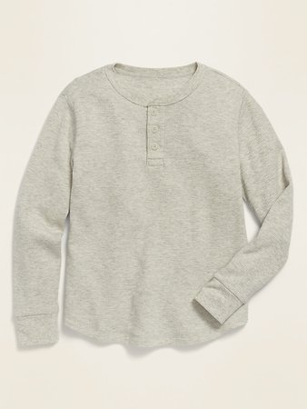 Thermal-Knit Long-Sleeve Henley Tee for Boys   Old Navy