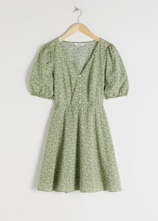 Puff Sleeve Mini Dress - Green floral - Mini dresses - & Other Stories