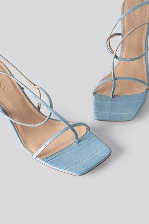 Strappy Stiletto Sandals Blue   na-kd.com