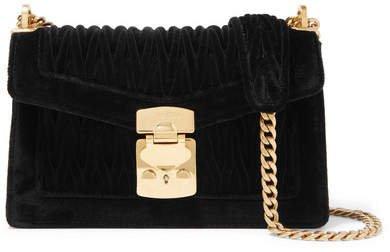 Confidential Matelassé Velvet Shoulder Bag - Black