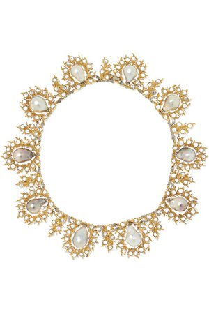 Buccellati | 18-karat yellow and white gold, pearl and diamond necklace | NET-A-PORTER.COM