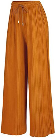 LL WB1485 Womens Pleated Wide Leg Palazzo Pants with Drawstring Plus Khaki at Amazon Women's Clothing store