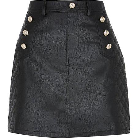 Black Pu quilted mini skirt   River Island