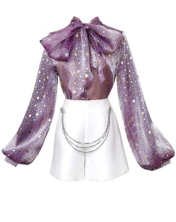 purple star top w/ white skirt