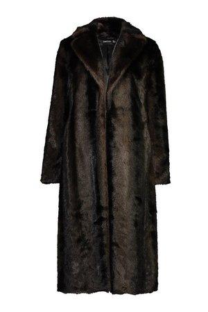 Longline Vintage Faux Fur Coat | Boohoo brown