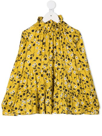 Shop yellow Il Gufo ruffle neck floral print blouse with Express Delivery - Farfetch