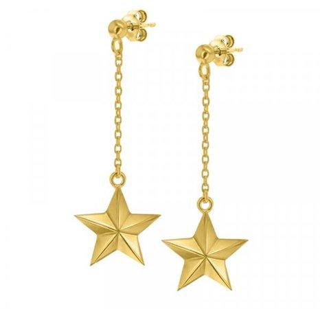 Yellow Gold Star Drop Earring - Set - True Rocks