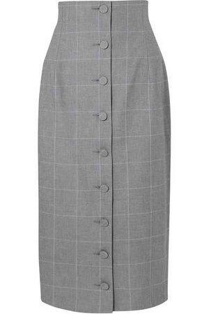 Off-White   Checked cotton midi skirt   NET-A-PORTER.COM