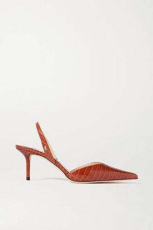 Thandi 65 Croc-effect Leather Slingback Pumps - Tan