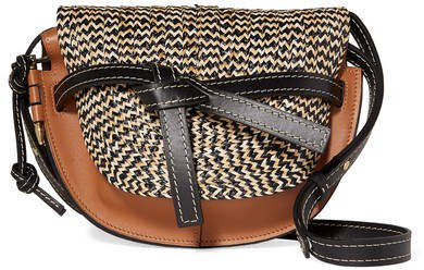 Gate Small Woven Raffia And Leather Shoulder Bag - Brown
