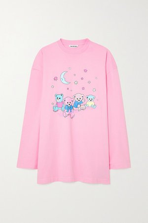Oversized Distressed Printed Cotton-jersey Top - Pink