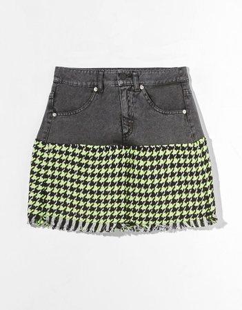 Contrasting mini skirt - Skirts - Woman   Bershka