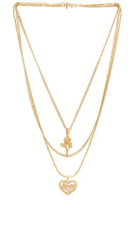 Vanessa Mooney Cielo Rose & Amor Layered Necklace in Gold | REVOLVE