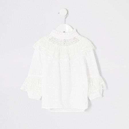 Mini girls white dobby mesh frill blouse | River Island