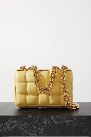 Cassette Chain-embellished Padded Intrecciato Leather Shoulder Bag - Yellow
