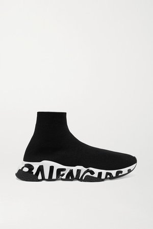 Speed Logo-print Stretch-knit High-top Sneakers - Black
