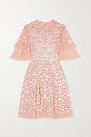 Aurelia Sequin-embellished Ruffled Tulle Mini Dress - Blush