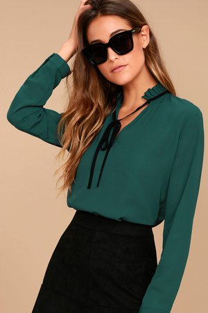 Chic Teal Blue Blouse - Long Sleeve Blouse - Tie Neck Blouse