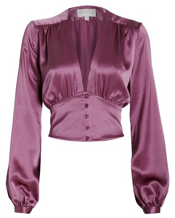 Satin V-Neck Blouse