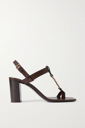 Tan Cassandra logo-embellished leather sandals | SAINT LAURENT | NET-A-PORTER