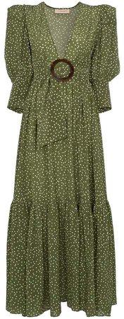 Mille Punti deep V-neck silk dress