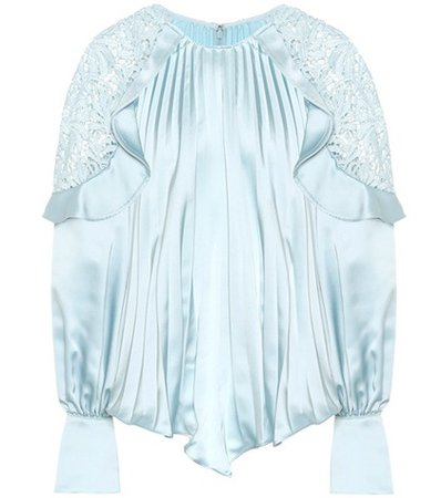 Lace-shoulder satin blouse