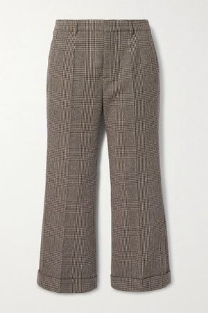 Brown Cropped Prince of Wales checked wool-blend straight-leg pants | SAINT LAURENT | NET-A-PORTER