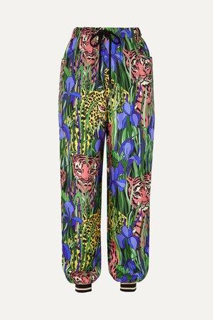 Green Printed silk-twill track pants | Gucci | NET-A-PORTER