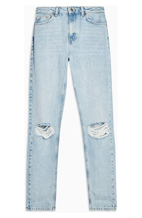 Topshop Double Ripped Mom Jeans blue