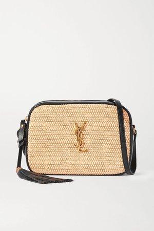 Neutral Lou leather and raffia shoulder bag | SAINT LAURENT | NET-A-PORTER
