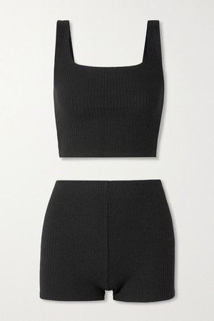 Mathilde Ribbed-knit Tank And Shorts Set - Black