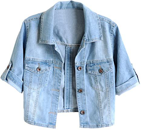 TRENDY XU Women Summer Short Sleeve Blue Denim Jacket Short Cropped Sunscreen Shawl (L) at Amazon Women's Coats Shop
