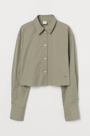 Cropped cotton shirt - Light green - Ladies | H&M GB