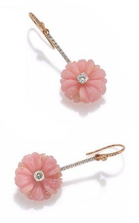 Cherry Blossom Earrings set with Pink Opal and Diamond by Irene Neuwirth | Moda Operandi