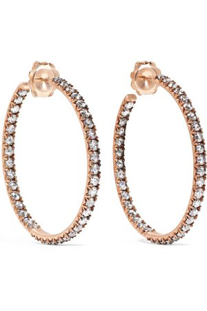 Sylva & Cie   14-karat rose gold diamond hoop earrings   NET-A-PORTER.COM