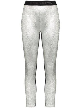 Paco Rabanne Metallic Logo Waistband Leggings - Farfetch
