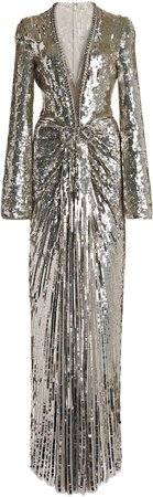 Jenny Packham Metallic Plisse Dress