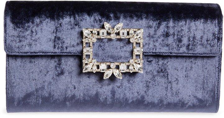Broche Vivier Velvet Envelope Clutch