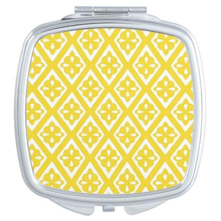 Diamond pattern - mustard gold and white makeup mirror | Zazzle.com