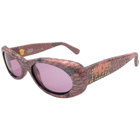 1990s Gianni Versace Pink Snakeskin Sunglasses For Sale at 1stdibs