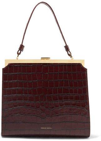 Elegant Croc-effect Leather Tote - Dark brown
