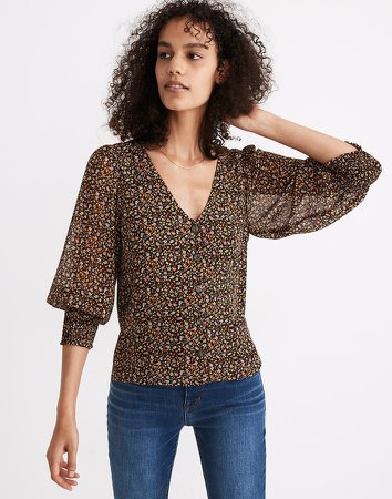 (Re)sourced Georgette Smocked-Cuff Button-Front Shirt in Folktale Paisley
