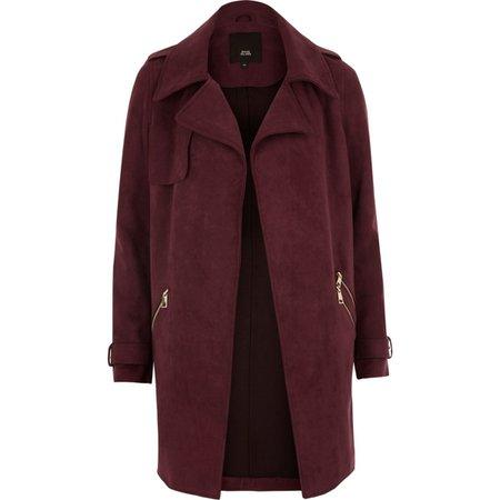Dark red faux suede longline trench jacket - Coats - Coats & Jackets - women