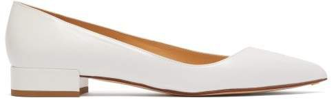 Point Toe Leather Flats - Womens - White