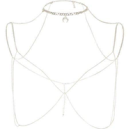 River Island Silver Tone Choker Harness Body Chain