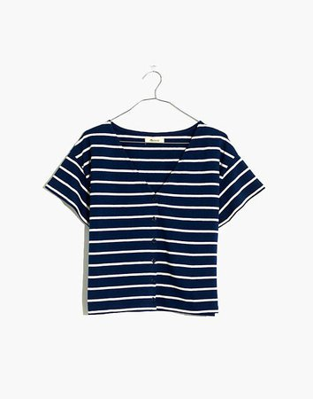 V-Neck Button-Front Boxy-Crop Tee striped