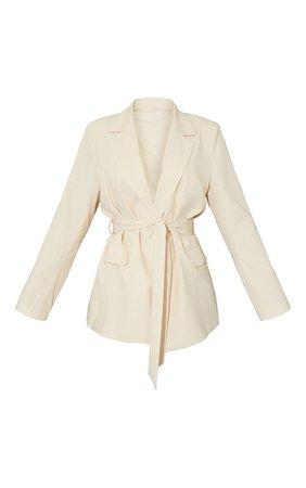 Cream Woven Oversized Pocket Front Belted Blazer | PrettyLittleThing USA