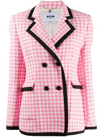 Msgm Double-Breasted Houndstooth Fitted Jacket Ss20 | Farfetch.com